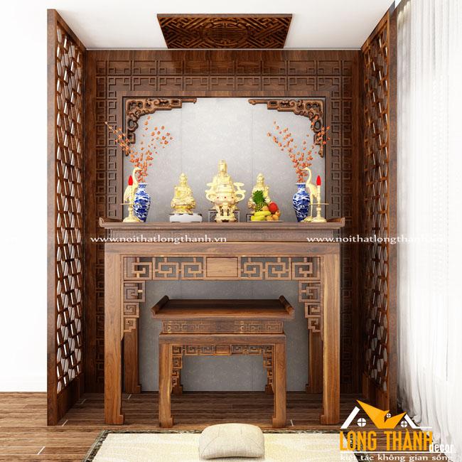 Bàn thờ đẹp gỗ Gõ cho nhà chung cư