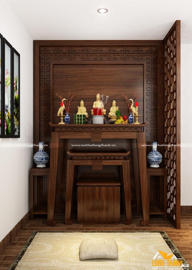 Bàn thờ tam cấp gỗ Sồi Mỹ sơn màu nâu trầm cho nhà chung cư