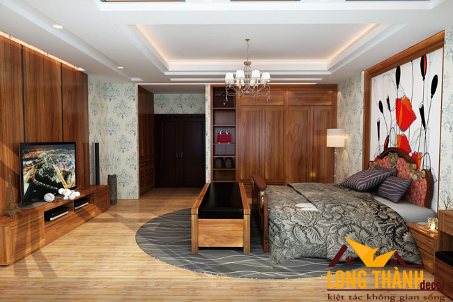 Bố trí phòng ngủ hiện đại bằng nội thất gỗ tự nhiên