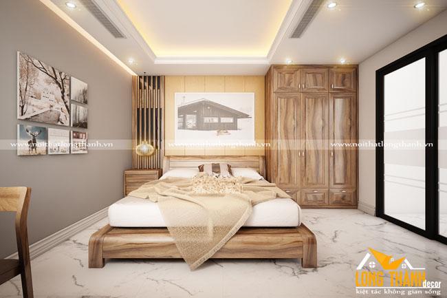 Cá tính với phòng ngủ hiện đại gỗ Cẩm tự nhiên