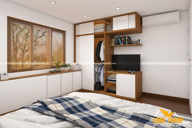 Cách bày trí nội thất phòng ngủ cho chung cư khi diện tích mặt sàn bị chéo