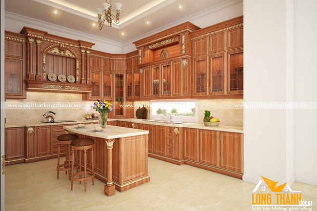 Có nên lựa chọn tủ bếp tân cổ điển cho không gian nhà biệt thự?