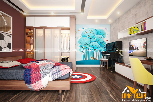 Đẹp hiện đại, tinh tế cùng phòng ngủ hiện đại gỗ Gõ tự nhiên