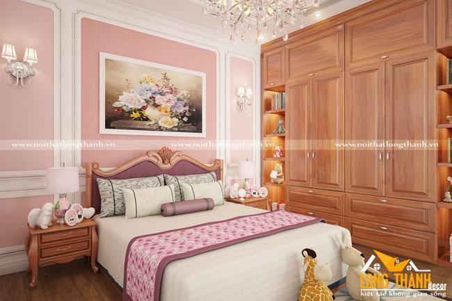 Đẹp nhẹ nhàng cùng phòng ngủ tân cổ điển Gỗ Gõ