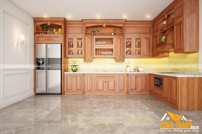 Đẹp sang trọng cùng tủ bếp tân cổ điển gỗ tự nhiên