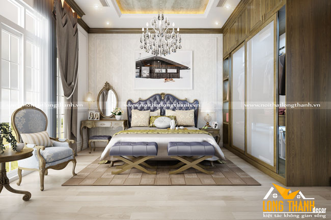 Độc đáo mới lạ cùng phòng ngủ tân cổ điên gỗ tự nhiên cho người mệnh thủy