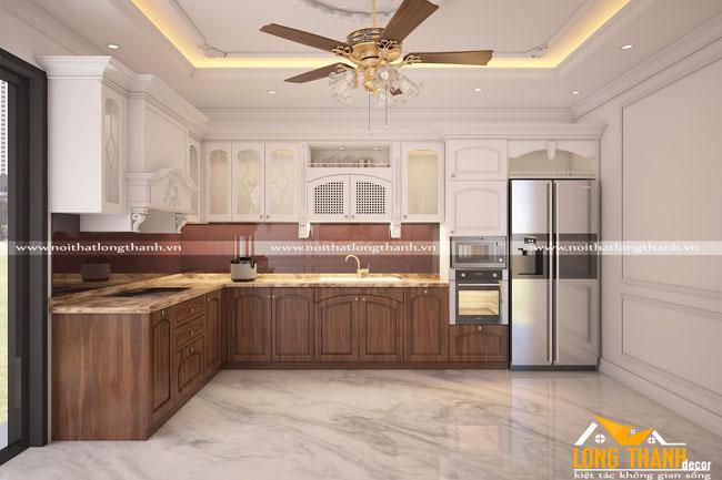 Độc đáo, sáng tạo cùng tủ bếp tân cổ điển gỗ tự nhiên Óc chó kết hợp sơn trắng