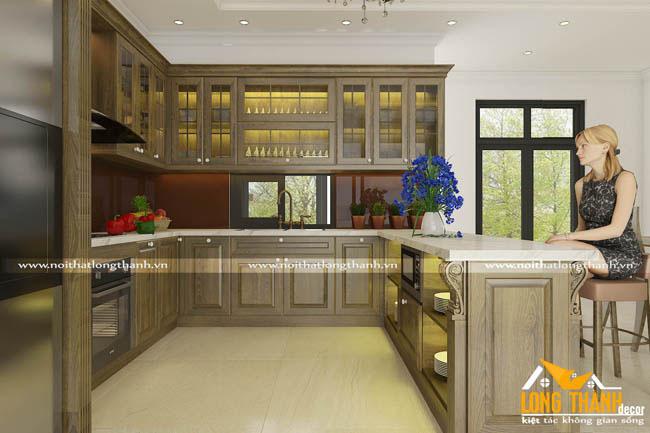 Độc đáo với tủ bếp tân cổ điển gỗ Sồi Mỹ tự nhiên sơn xanh rêu