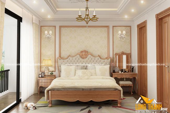 Đơn giản, nhẹ nhàng cùng phòng ngủ tân cổ điển gỗ Gõ tự nhiên