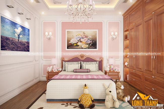 Dự án thiết kế các phòng ngủ tân cổ điển gỗ Gõ cho biệt thự nhà anh Nam Cầu Giẽ