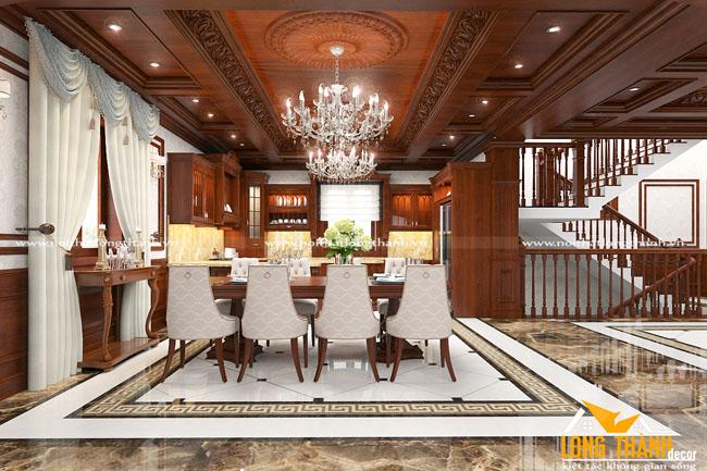 Dự án thiết kế tủ bếp, phong khách tân cổ điển nhà anh Nam Cầu Giẽ