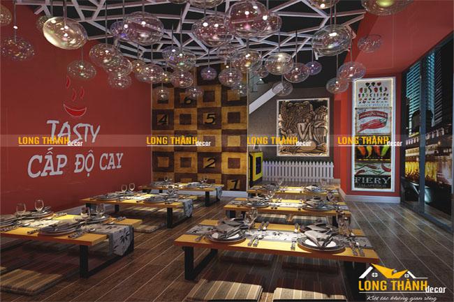 Dự án thiết kế nhà hàng mỳ cay cho nhà hàng của anh Hiếu chị Lam ở Nguyễn Đình Chiểu Hà Nội