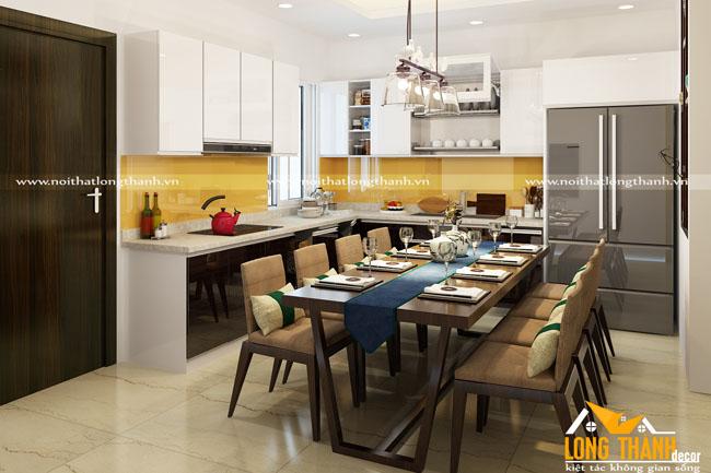 Dự án thiết kế phòng bếp, phòng ăn của gia đình anh Mịnh – Chị Hương, biệt thự Minh Khai, Hà Nội