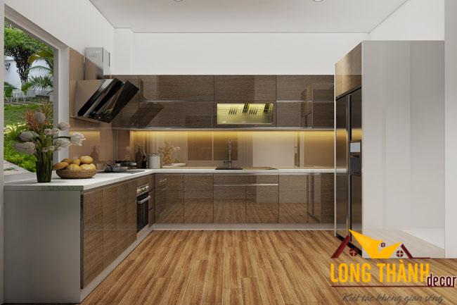 Dự án thiết kế, sản xuất tủ bếp hiện đại nhà chị Bình Khâm Thiên Hà Nội