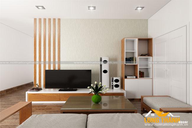 Dự án thiết kế, thi công sản xuất nội thất phòng khách nhà chị Hà – Chung cư An Lạc, Phùng Khoang, Hà Nội