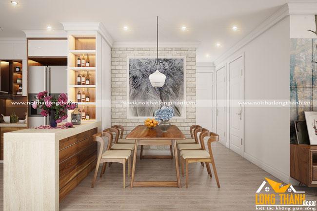Dự án thiết kế thi công sản xuất phòng khách bếp cho căn hộ A2003 Tân Hoàng Minh Hoàng Cầu cho gia đình chị Hương