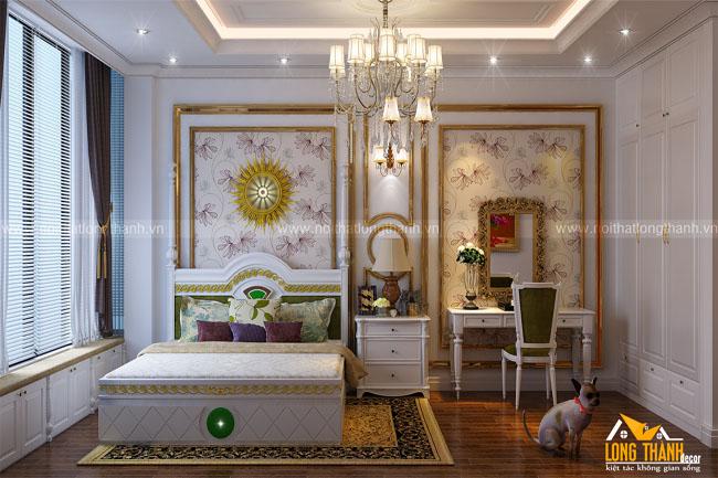 Dự án thiết kế, thi công sản xuất phòng ngủ tân cổ điển nhà chị Hương – Cầu Giấy Hà Nội