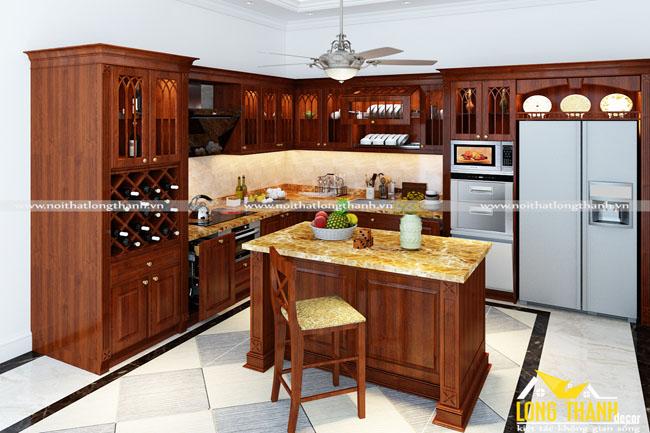 Dự án thiết kế, thi công sản xuất tủ bếp tân cổ điển nhà chị Nguyệt – Nam Định