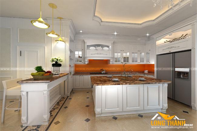 Dự án thiết kế, xản xuất nội thất tủ bếp gỗ tự nhiên sơn trắng nhà anh Trung – Thái Nguyên