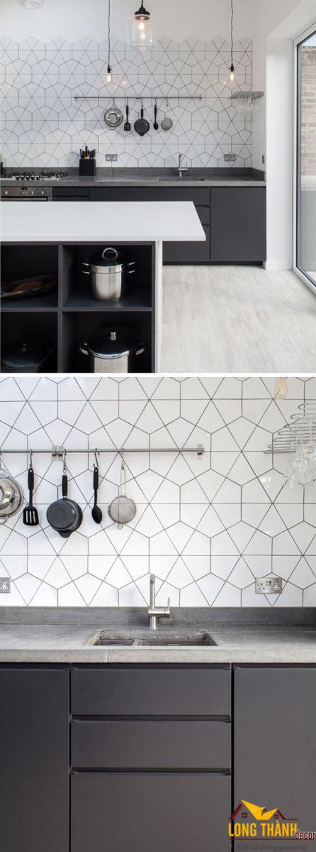 Gạch hình học – Ý tưởng cá tính và độc đáo trong trang trí tủ bếp