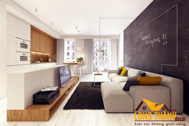 Giải pháp bố trí nội thất phòng khách bếp kết hợp bếp và ăn cho nhà chung cư diện tích nhỏ