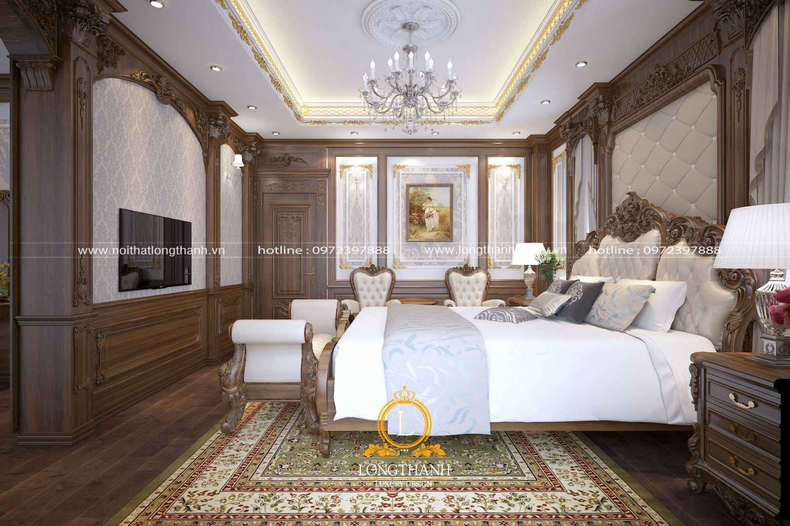 Thiết kế nội thất phòng ngủ master tân cổ điển với nhưng đường nét tinh tế