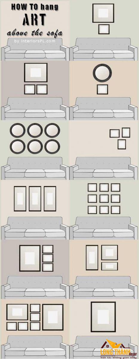 Gợi ý những bố cục treo tranh tường tạo điểm nhấn cho không gian nội thất