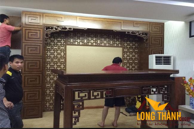 Hình ảnh thực tế cho dự án phòng thờ nhà anh Thắng chị Vinh – Cầu Diễn, Hà Nội