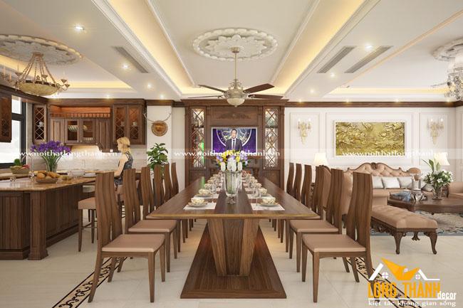 Không gian phòng khách, bếp đẹp với gỗ tự nhiên óc chó