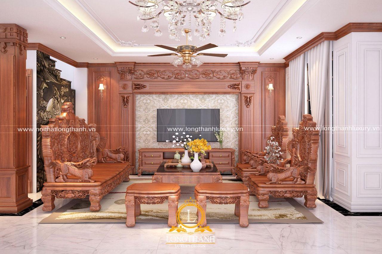 Nội thất phòng khách gỗ Hương đỏ