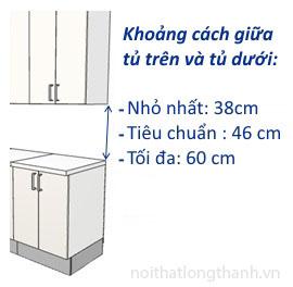Kích thước tủ bếp trên tủ bếp dưới