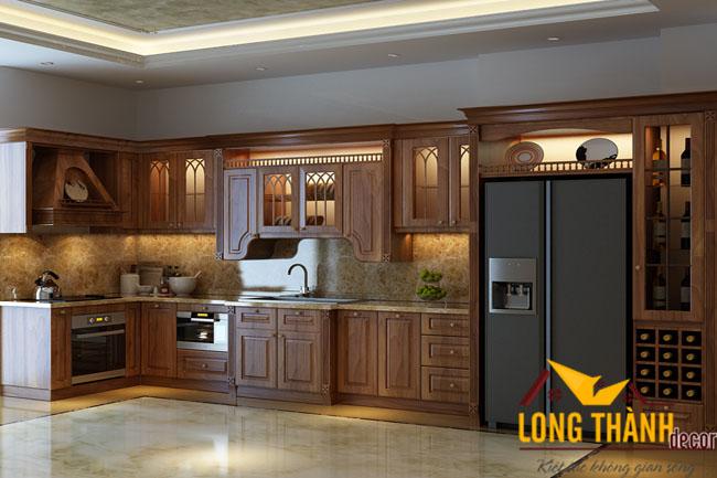 Lựa chọn Tủ bếp tân cổ điển gỗ Gõ tự nhiên vừa bền đẹp, vừa sang trọng