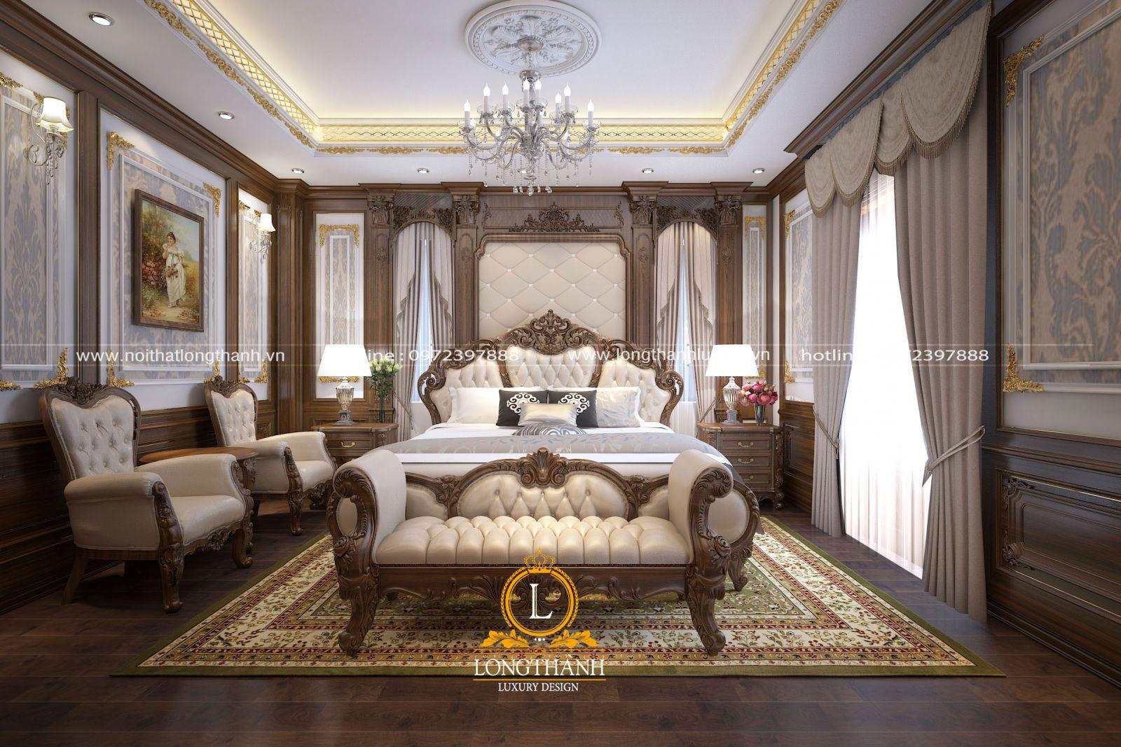 Phòng ngủ master với sự kết hợp của nhiều món đồ nội thất đục trạm sắc sảo