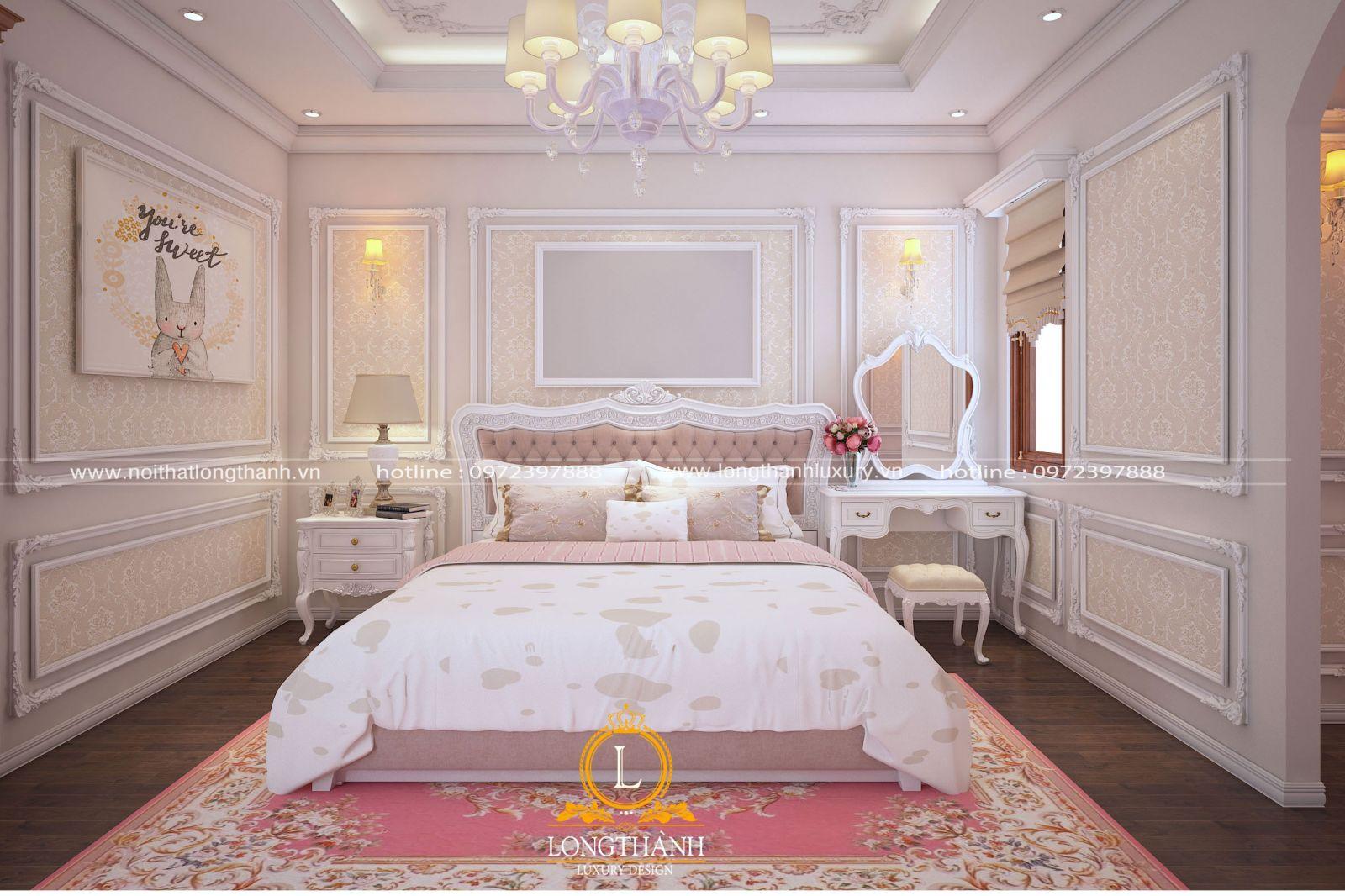 Thiết kế không gian nội thất phòng con gái với đầy đủ tiện nghi cơ bản
