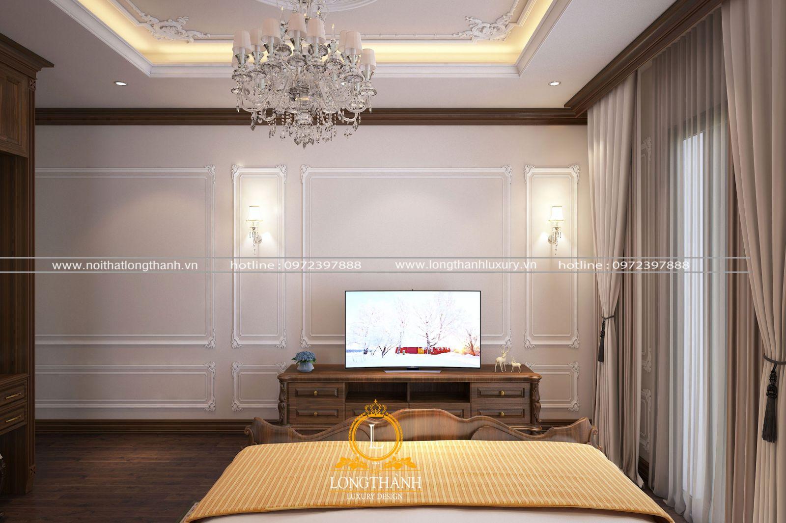 Thiết kế không gian nội thất phòng ngủ nhà phố góc nhìn chính kệ tivi