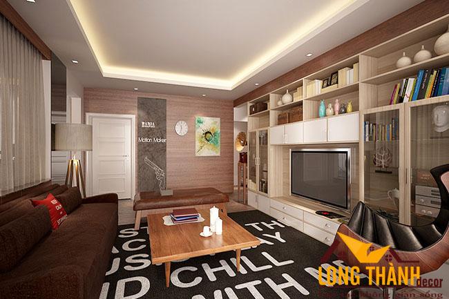 Mẫu phòng khách hiện đại với tủ để đồ lớn dành cho nhà chung cư