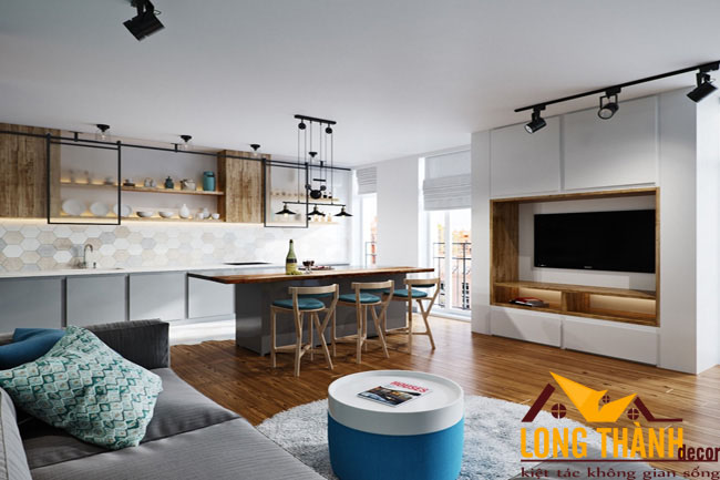 Mẫu phòng khách kết hợp bếp và ăn dành cho nhà chung cư