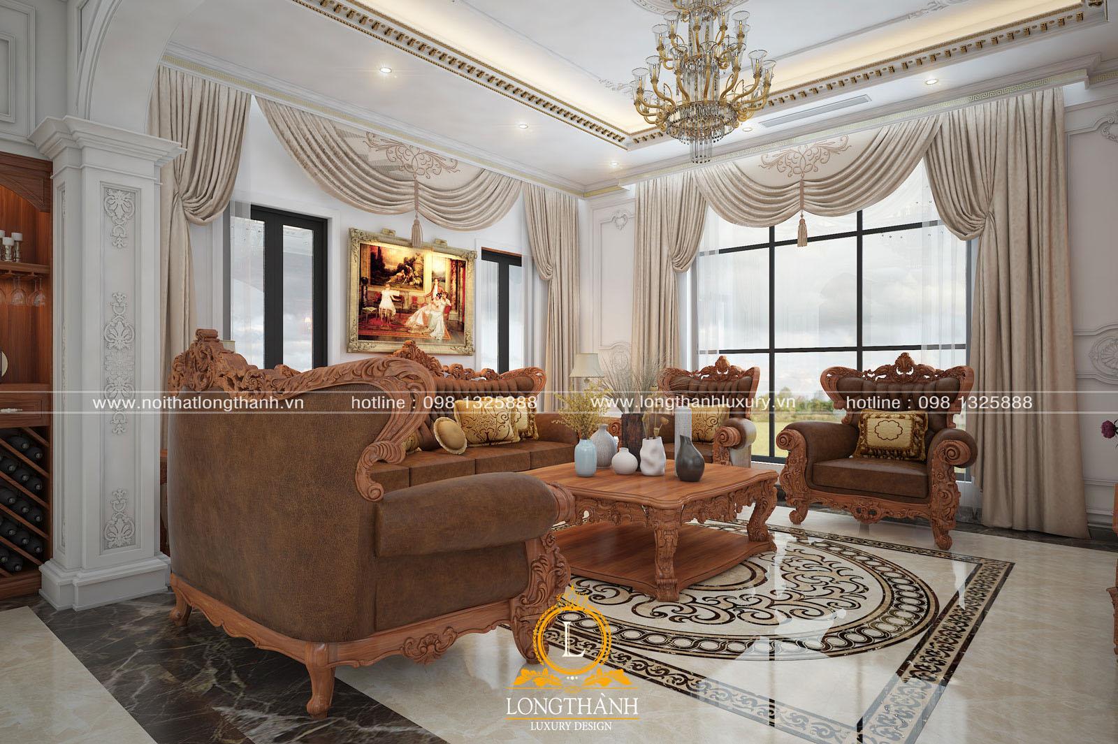 Góc nhìn nghiêng của căn phòng khách rộng rãi