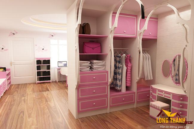 Mẫu thiết kế phòng ngủ hiện đại đẹp cho bé gái