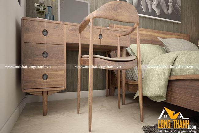 Mẫu phòng ngủ hiện đại đẹp với gỗ tự nhiên Óc chó