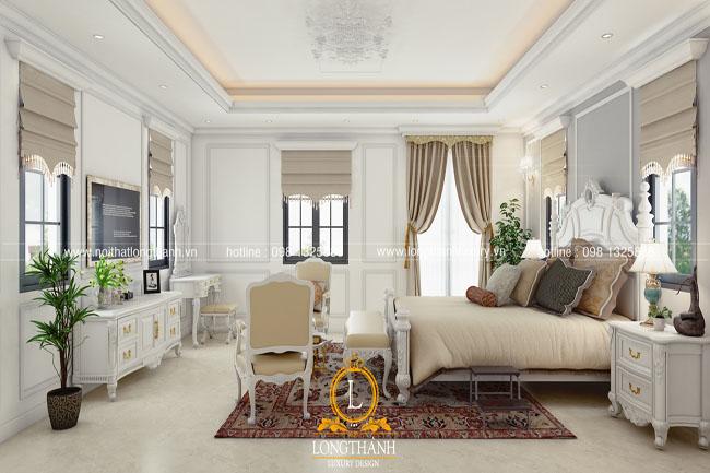 Mẫu phòng ngủ tân cổ điển sơn trắng cho năm 2018
