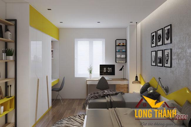 Thiết kế nội thất chung cư cho phòng ngủ trẻ con với gam màu vàng