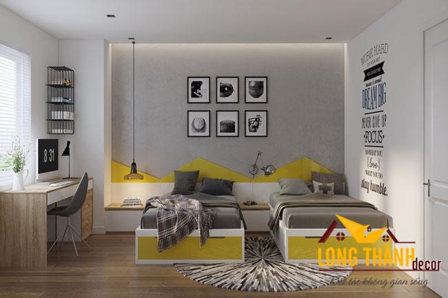 Mẫu phòng ngủ trẻ con với gam màu vàng