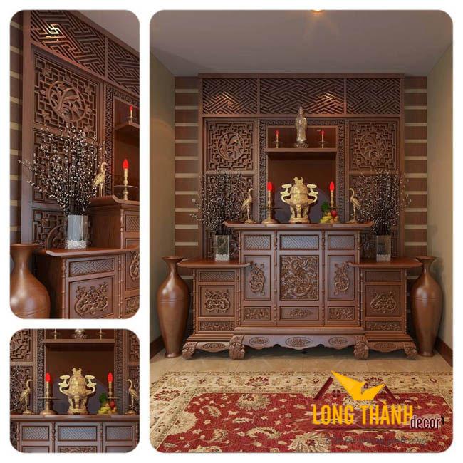 Bàn thờ gỗ gụ - nội thất Long Thành