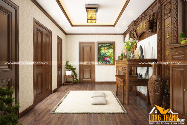 Mẫu phòng thờ gỗ Walnut (Óc chó) đẹp cho nhà biệt thự