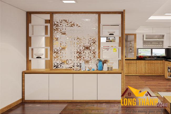 Mẫu thiết kế không gian mở cho nội thất phòng khách, bếp và ăn trong căn hộ chung cư