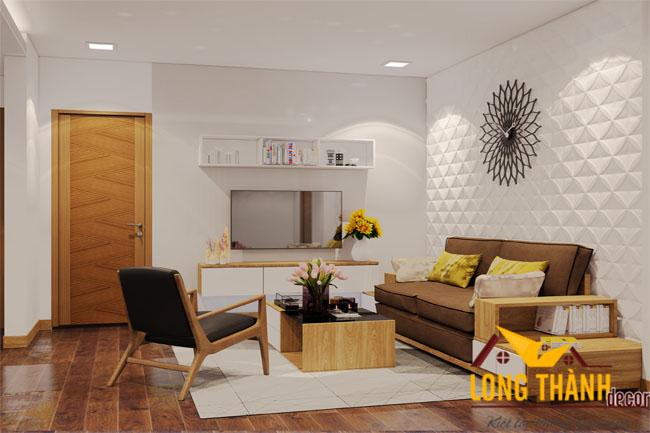 Mẫu thiết kế không gian mở cho phòng khách, bếp và ăn trong căn hộ chung cư