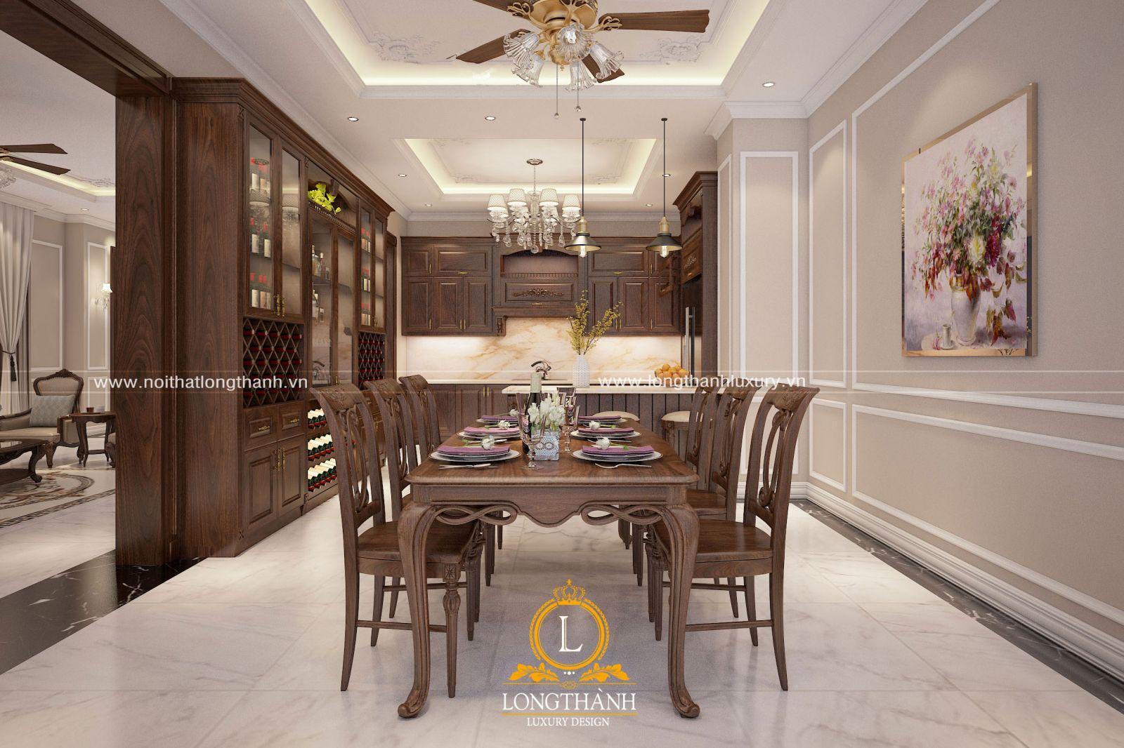 Thiết kế nội thất phòng bếp với bộ bàn ghế ăn gỗ tự nhiên cao cấp