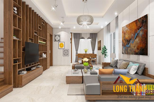 Mẫu thiết kế nội thất phòng khách biệt thự với gỗ tự nhiên Sồi Mỹ