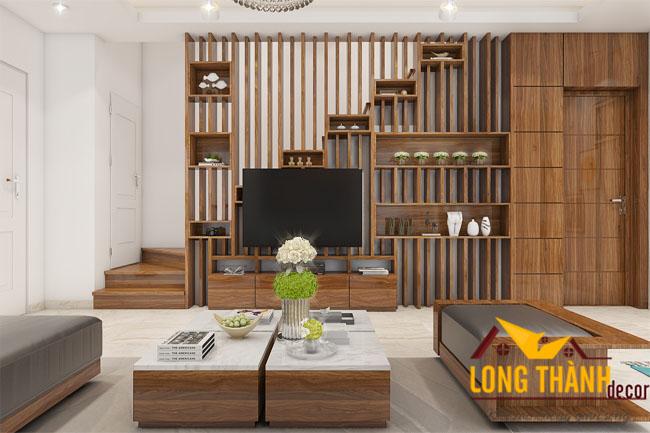 Mẫu thiết kế nội thất phòng khách hiện đai cho nhà biệt thự với gỗ tự nhiên Sồi Mỹ